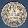 Coins Vatican. Pie IX (1846-1878). 5 lires 1870R, an XV. Rome
