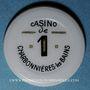 Coins Charbonnières-les-Bains (69). Casino. 1 franc plastique laminé blan avec inscription noir et or
