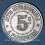 Coins Hérault (34). Syndicat de l'Alimentation en Gros. 5 centimes, fauté : frappe incuse du revers