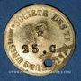 Coins Lyon (69). Société des Travailleurs Unis. 25 centimes. Percé et 14 en contremarque au revers