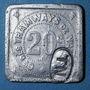Coins Nantes (44). Compagnie des Tramways. 20 centimes, contremarque ovale