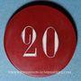 Coins Vichy (03). Casino. 20 francs. Plastique translucide rouge, gravé et peint en blanc