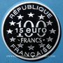 Coins 5e république (1959- ). 15 euro / 100 francs 1996, abeille, Magere Brug d'Amsterdam
