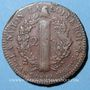 Coins Convention (1792-1795). 2 sols constitutionnel 1793 BB, an 5 Strasbourg. Type FRANCAIS, cuivre