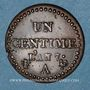 Coins Directoire (1795-1799). 1 centime an 7 A. 53 perles à l'avers et 50 au revers