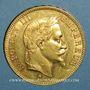 Coins 2e empire (1852-1870). 100 francs Napoléon III tête laurée 1867 BB. Strasbourg. (PTL 900‰ 32,25 g)