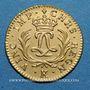 Coins Louis XV (1715-1774). Louis d'or Mirliton, grandes palmes, 1724 K. Bordeaux