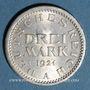 Coins Allemagne. République de Weimar. 3 mark 1924 A