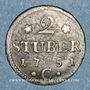 Coins Clèves. Frédéric II de Brandebourg (1740-1786). 2 stuber 1752 C