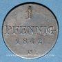 Coins Hanovre. Ernest Auguste (1837-1851). 1 pfennig 1842 S