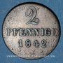 Coins Hanovre. Ernest Auguste (1837-1851). 2 pfennig 1842 A