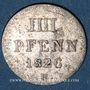 Coins Hanovre. Georges IV (1820-1830). 4 pfennig (= 1/2 mariengroschen) 1826 B