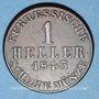 Coins Hesse. Guillaume II et Frédéric Guillaume (1831-1847). 1 heller 1843