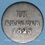 Coins Nassau. Guillaume (1816-1839). 3 kreuzer 1825