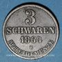 Coins Oldenbourg. Nicolas Frédéric Pierre (1853-1900). 3 schwaren 1864 B