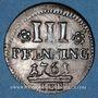 Coins Rostock. Ville. 3 pfennig 1761 IHB