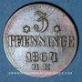 Coins Rostock. Ville. 3 pfennig 1864 HR
