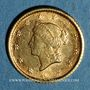 Coins Etats Unis. 1 dollar 1853. (PTL 900‰. 1,67 g)