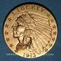 Coins Etats Unis. 2 1/2 dollars 1913. Tête d'indien. (PTL 900‰. 4,18 g)