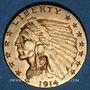 Coins Etats Unis. 2 1/2 dollars 1914. Tête d'indien. (PTL 900‰. 4,18 g)
