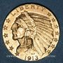 Coins Etats Unis. 5 dollars 1913. Tête d'indien. (PTL 900‰. 8,36 g)