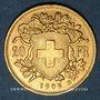 Coins Suisse. Confédération. 20 francs Vreneli 1909 B. (PTL 900‰. 6,45 g)