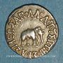 Coins Royaume de Bactriane. Apollodotes I (180-150 av. J-C). Drachme de poids indien. Taxila