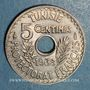 Coins Tunisie. Ahmed II, bey (1348-1361H = 1929-1942). 5 centimes 1938