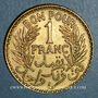 Coins Tunisie. Mohammed al -Amine, bey (1362-76H). 1 franc 1364H = 1945