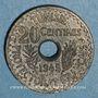 Coins Tunisie. Mohammed al -Amine, bey (1362-76H). 20 cmes 1945. Essai piéfort