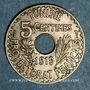 Coins Tunisie. Mohammed En-Naceur (1324-1340H). 5 centimes 1919