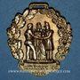 Coins Révolution de 1848. Insignes de 1848. Combattant de février. Médaille cuivre jaune repoussé. 32 mm