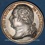 Coins Académie Française. Louis XVIII. Jeton argent, signé : E. Gatteaux. Sans poinçon
