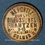 Coins Colmar (68). Chaussures Frantzen. Carton recouvert de deux plaques de laiton. 21,99 mm.