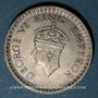 Coins Indes Anglaises. Georges VI (1936-1952). 1/2 roupie 1944(B), point. Bombay