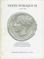 Second hand books Monnaies et Médailles, Bâle, vente aux enchères n° 68, des 15.04.1986